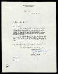 letter of thanks from benjamin e mays to mlk the martin luther
