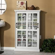 Multimedia Cabinet With Glass Doors Sliding Door Media Cabinet White Kitchen Dining