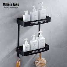 Black Bathroom Shelves Stainless Steel 304 Black Bathroom Corner Shelf Shower Room Rack