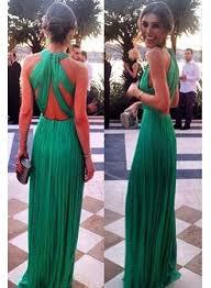 2017 green chiffon prom dresses ruched back long evening