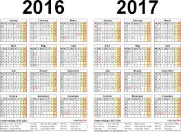 two year calendars for 2016 u0026 2017 uk for excel
