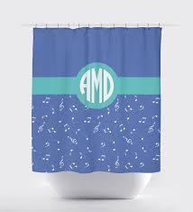 music note shower curtain with circle monogram for girls u2013 shop