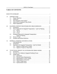 what does table of contents mean table of contents integrated urban models for simulation of