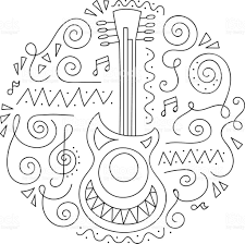 doodle guitar jazz festival coloring page stock vector art