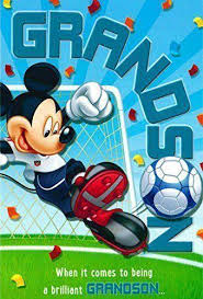 disney mickey mouse grandson football birthday greeting card with