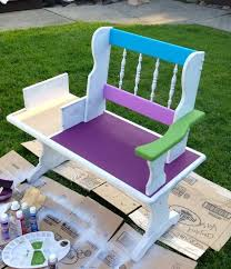 Bench Outdoor Furniture Funky Hand Painted Bench Hometalk