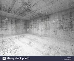 abstract white interior of empty room with concrete walls stock