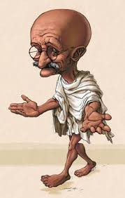 mahatma gandhi caricature made in pencil on paper and paint