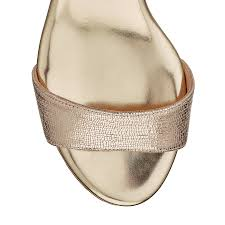 gold metallic printed leather wedge sandals with metallic flecked