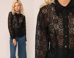 black button blouse black lace blouse etsy
