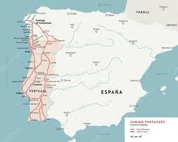 Camino De Santiago Map Camino Portugues Map Camino De Santiago Portugal U2014 Stock Vector