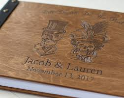 fall wedding guest book skull guestbook etsy