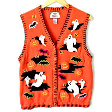 bright orange ghosts and bats halloween tacky ugly sweater vest