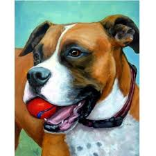 boxer dog art boxer dog print dog art painted by dottie dracos red ball