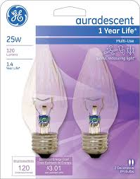 ge lighting 75339 amber 25 watt 120 lumen flame tip light bulb