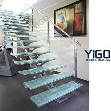 Glass Banisters For Stairs Glass Balustrade Of Stair Yigo Building Material Inc