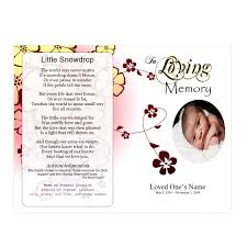 baby funeral program flowers single fold memorial program funeral phlets