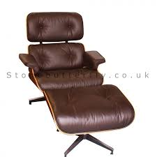style lounge chair and ottoman rosewood u0026 brown leather