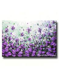 Green And Purple Home Decor by Original Art Abstract Painting Lavender Flowers Mint Green Purple