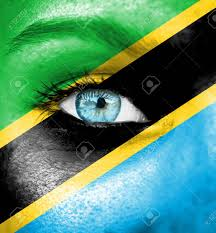Tanzanian Flag Woman Face Painted With Flag Of Tanzania Stock Photo Picture And