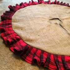 54 natural burlap christmas tree skirt with plaid ruffle rustic