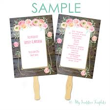 wedding programs fans templates country flower wedding program fan template free sample my