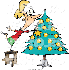 cartoon vector of a happy decorating a christmas tree by