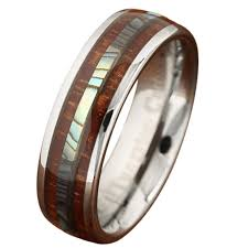 koa wedding bands 6mm genuine koa wood tungsten ring with abalone center