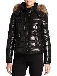 moncler armoise fur trim puffer jacket in black lyst