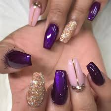 purple nails with designs graham