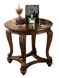 Ashley Furniture End Tables Norcastle Traditional Dark Brown Wood Glass End Table Occasional