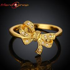 finger ring designs for 2018 kr040 a bow design 18k gold plated finger ring with zircon