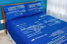 Pillow And Duvet Set Star Trek Schematic Duvet Cover And Pillow Cases Thinkgeek