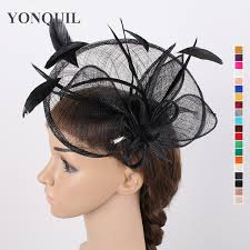 fascinators hair accessories women black feather large sinamay fascinators hat hair
