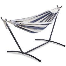 2 person hammock on stand blue u0026 white stripe vonhaus