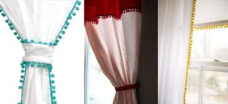 White Curtains With Pom Poms Decorating Diy Pom Pom Curtains I M Thinking Light Grey Or Curtains
