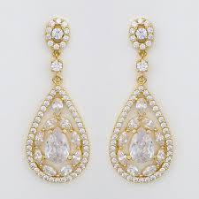 gold teardrop earrings gold cz earrings delicate gold cz teardrop earrings open design