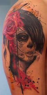 nice shoulder tattoos watercolor nice santa muerte with red roses in black haired tattoo