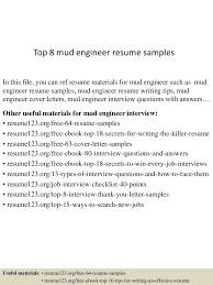 Resume Example Engineer by Top8mudengineerresumesamples 150520133643 Lva1 App6892 Thumbnail 4 Jpg Cb U003d1432129110
