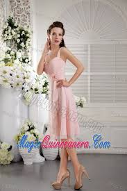 light pink dama dresses straps ruched and flowery chiffon baby pink dama dress in cabo rojo