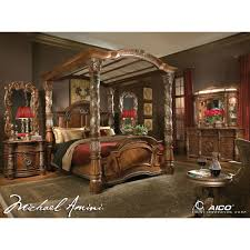 Rent To Own Bedroom Furniture by Michael Amini 5pc Villa Valencia California King Size Canopy