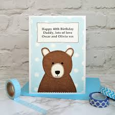 personalised u0027daddy bear u0027 birthday card by jenny arnott cards