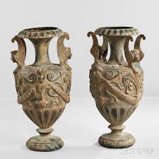 urns for sale pair of empire style bronze floor urns sale number 3020b lot