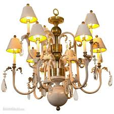 French Wooden Chandelier French Eight Arm Brass And Wood Chandelier Estatesales Org
