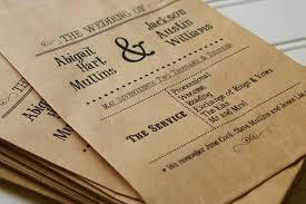 flat wedding programs wedding ceremony programs set of 25 custom flat kraft paper bag