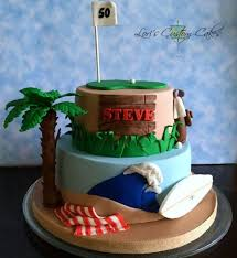 50th birthday cake for a beach loving golf loving kind of guy