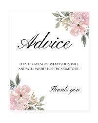 baby shower sign printable floral watercolor baby shower advice sign whimsical