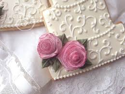 wedding cake cookies with wafer paper rosessweetambs