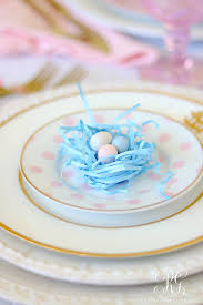 how to set a perfect pink easter table with diy mini floral easter