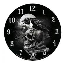 poe raven gothic design wall clock battery powered clock with